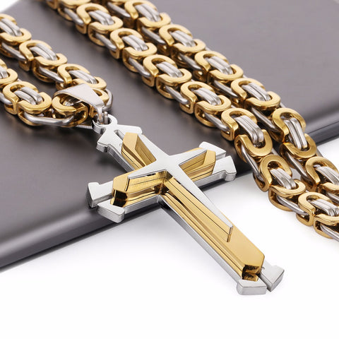 3 Layers Knight Cross Pendant Necklace
