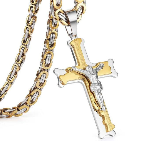 Stainless Steel Christs Jesus Cross Pendant Necklace