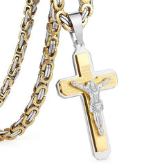 Jesus Cross Necklace Stainless Steel Christs Pendant  NZ015