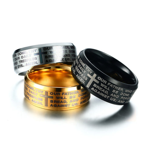 Engraved Bible Cross Ring for Men