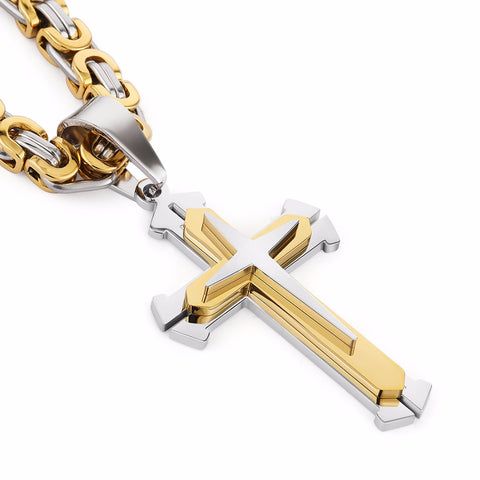 3 Layers Knight Cross Pendant Necklace for men