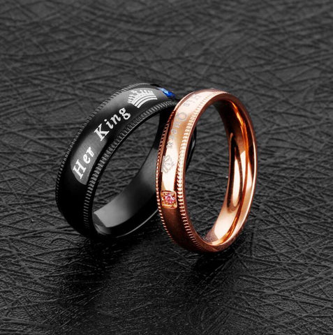 """His Queen"" and ""Her King"" Couple rings for lovers"