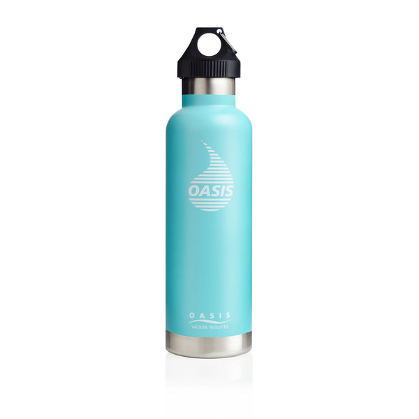 Oasis Stainless Steel Vacuum-Insulated Water Bottle, w/Leak Proof Loop Cap, Aqua, 25oz