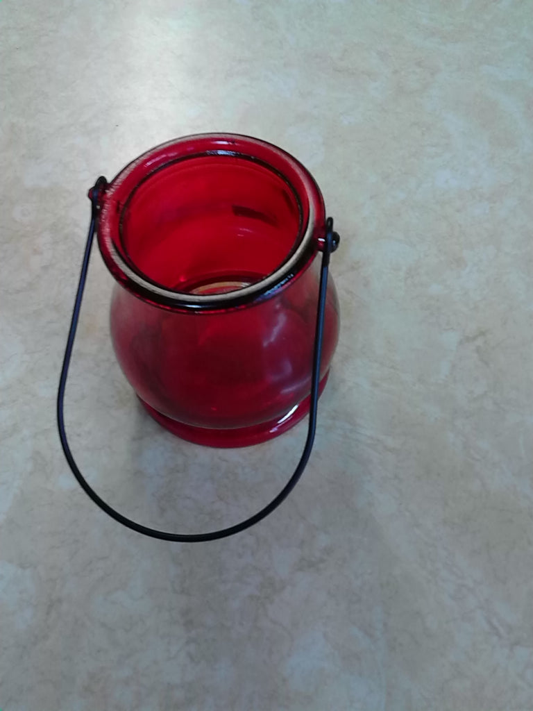 Red Votive Holder with Handle
