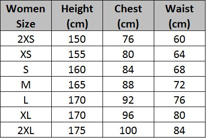Women Clothing Size Chart