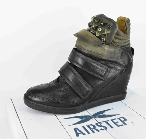AIRSTEP LEATHER BLACK SHORT BOOTS