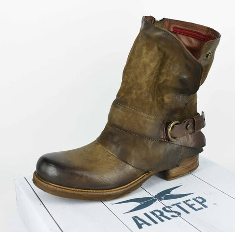 AIRSTEP LEATHER BROWN SHORT BOOTS