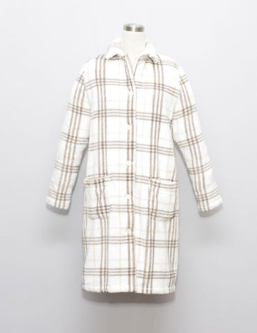 CHECKER LADIES FLANNEL FLEECE HOUSECOAT