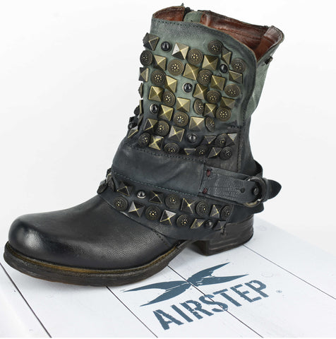 AIRSTEP LEATHER GREY SHORT BOOTS