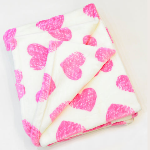 HEART FLANNEL FLEECE BLANKET