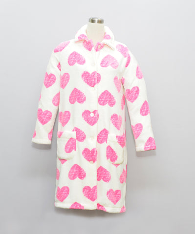 HEART LADIES FLANNEL FLEECE HOUSECOAT