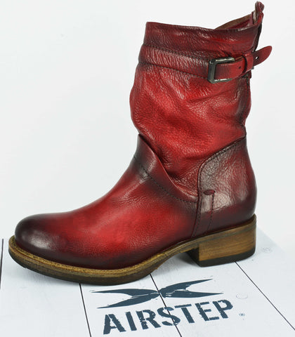 AIRSTEP LEATHER RED SHORT BOOTS