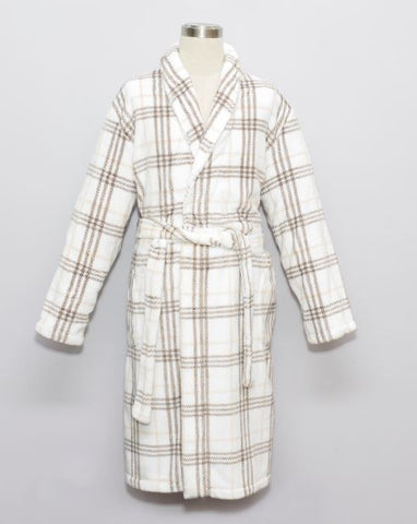 CHECKER MEN FLANNEL FLEECE HOUSECOAT