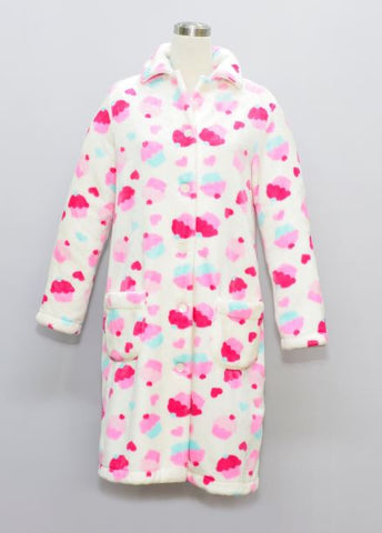 CUPCAKE LADIES FLANNEL FLEECE HOUSECOAT