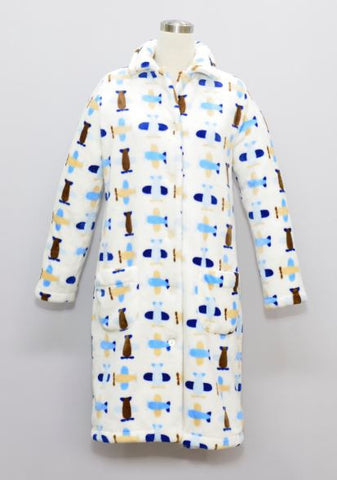 PLANE LADIES FLANNEL FLEECE HOUSECOAT