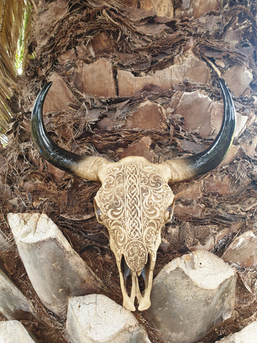 Cow Skull Wall Hanger - Tribal