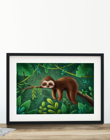 Sloth Green - 8x12in Print UNFRAMED
