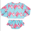 Aqua Flamingos Girls Long Sleeve Two Piece Zip Swimmers
