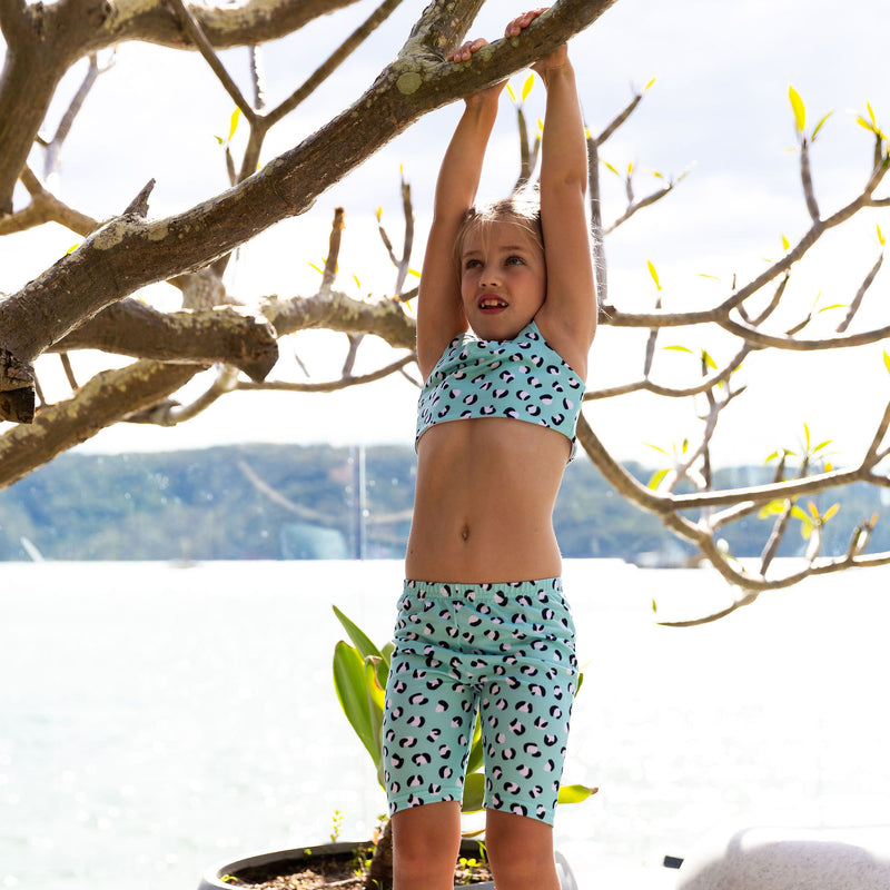 Aqua Leopard Print Kids' Crop Top