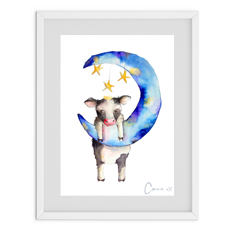 Cow And The Stars Watercolour Print