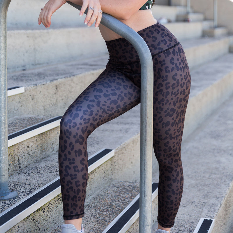 Dark Leopard Print Women's Tights