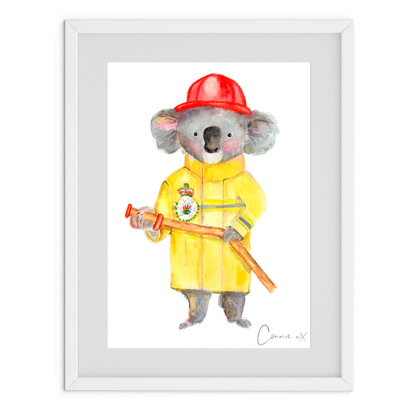 Firefighting Koala Watercolour Print