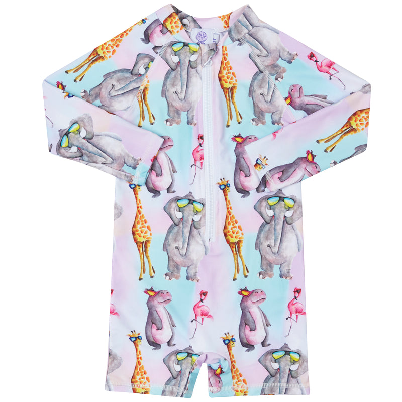 Safari Animals Unisex Long Sleeve Zip Swimmers
