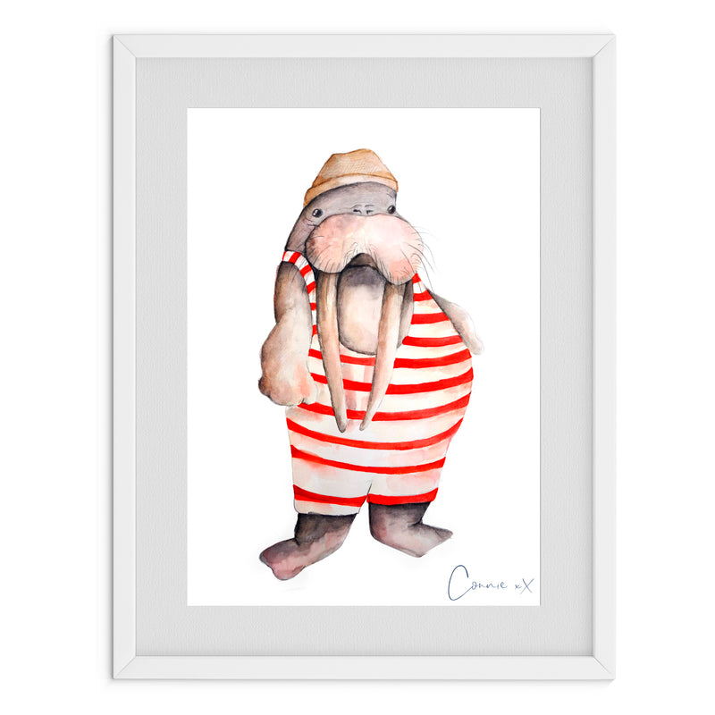 Seaside Walrus Watercolour Print