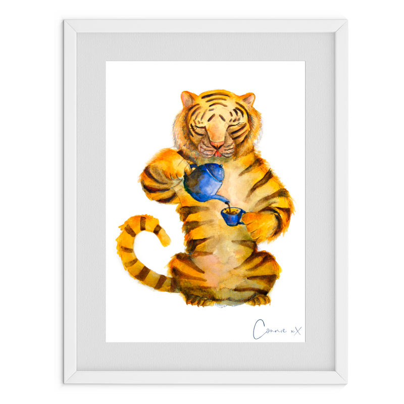 Tea Tiger Watercolour Print