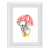 Umbrella Koala Watercolour Print
