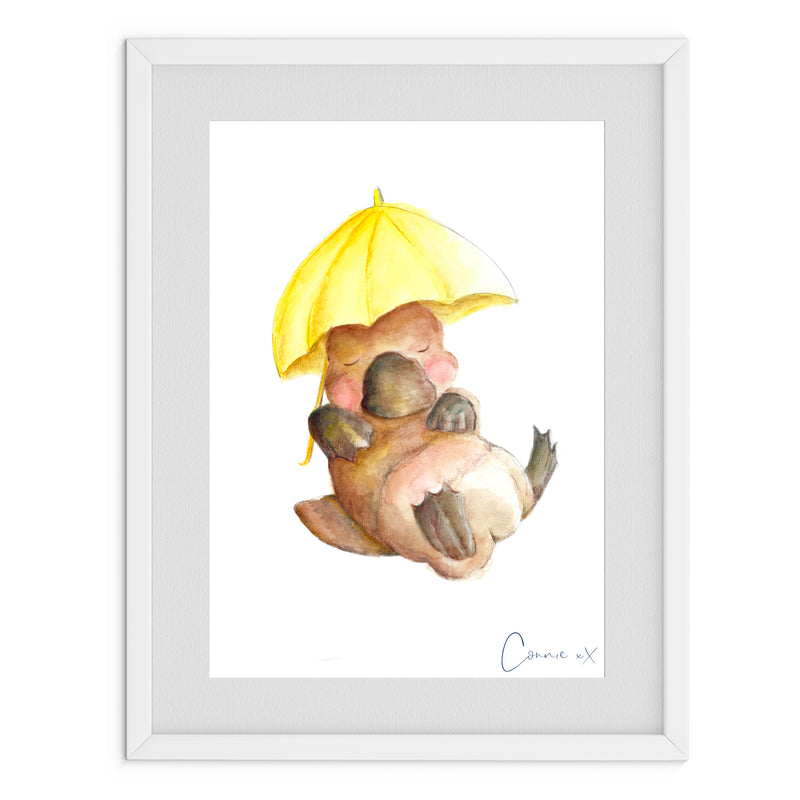 Umbrella Platypus Watercolour Print