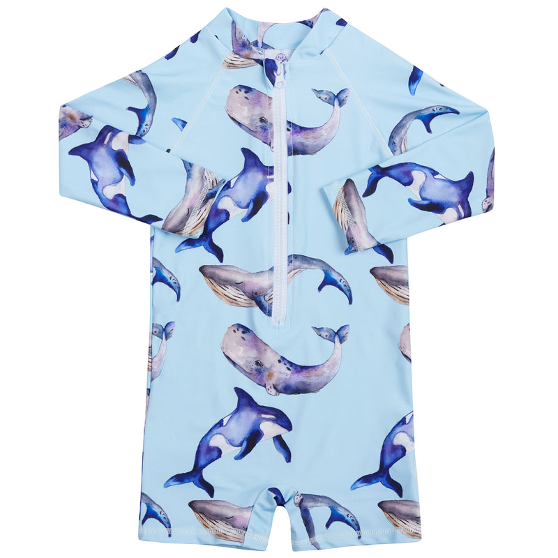 Whales Unisex Long Sleeve Zip Swimmers