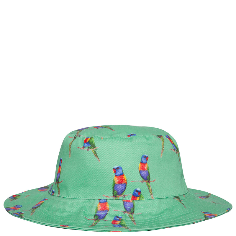 Green Rainbow Lorikeet Beach Hat