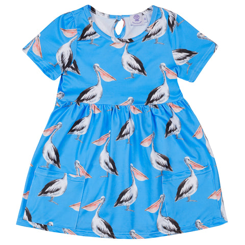 Night Sky Australian Birds Short Sleeve Frill Dress