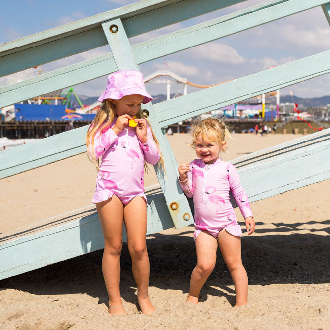 Flamingo Girls Long Sleeve Zip Swimmers