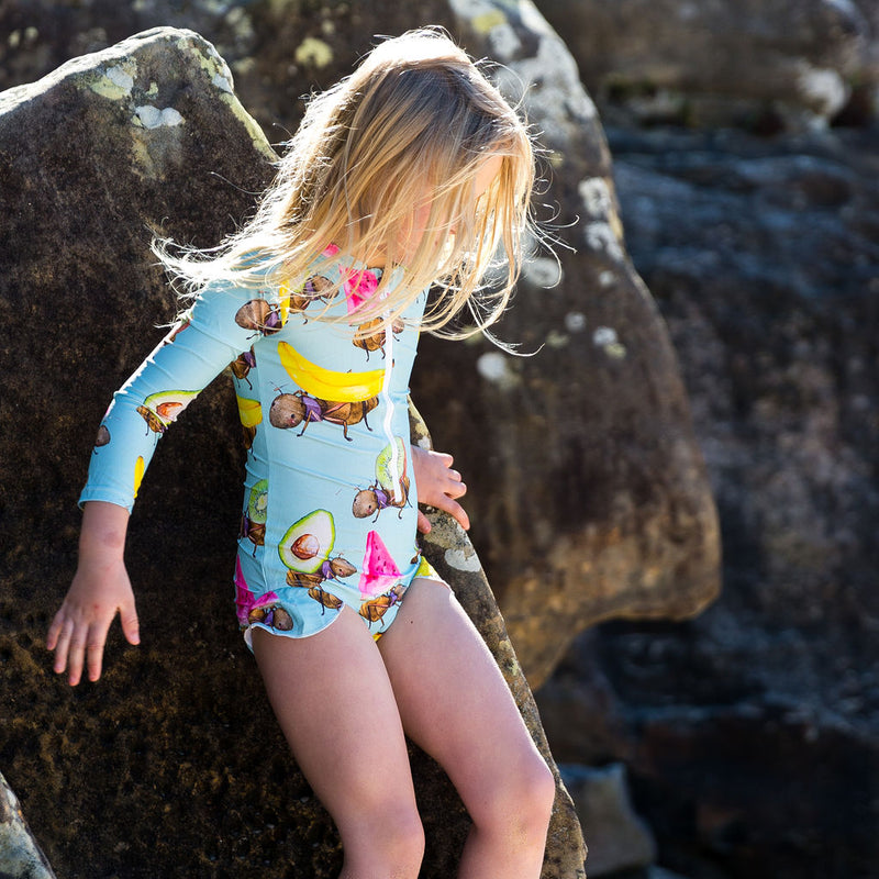 Fruit Ants Girls Long Sleeve Zip Swimmers