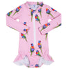 Pink Rainbow Lorikeet Girls Long Sleeve Zip Swimmers