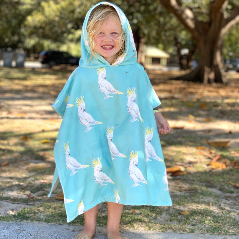 Green Cockatoo Hooded Kids' Towel