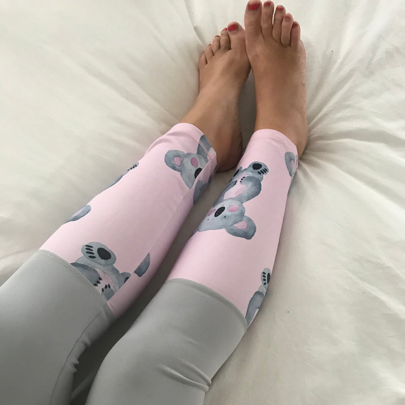 Grey Koala Split Print Women's Tights
