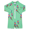 Green Rainbow Lorikeet Unisex Long Sleeve Zip Swimmers