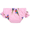 Pink Rainbow Lorikeet Frill Swim Bottoms