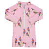 Pink Rainbow Lorikeet Long Sleeve Unisex Zip Swimmers