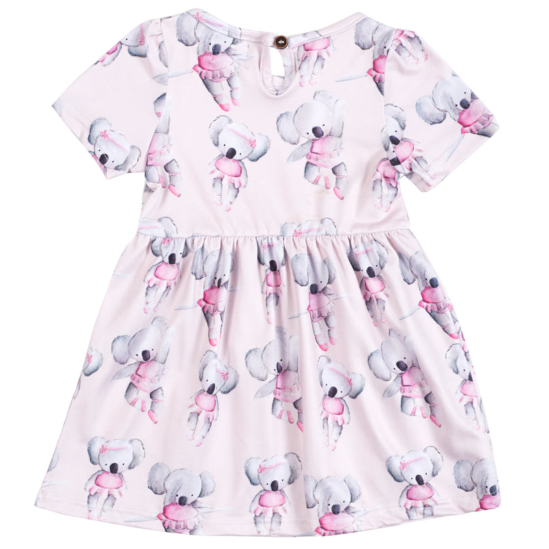 Ballerina Koala Short Sleeve Pocket Dress