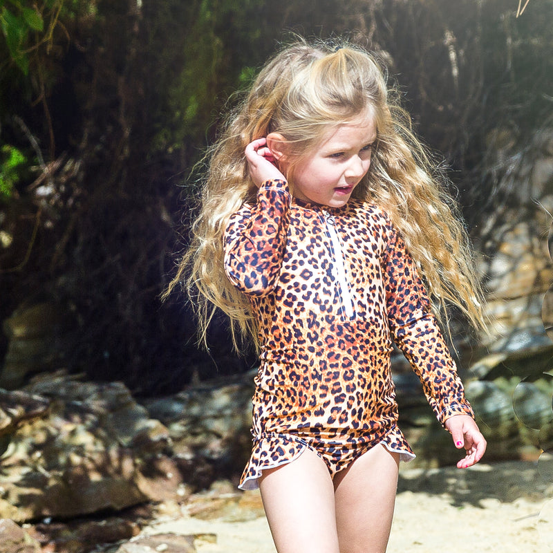 Leopard Print Long Sleeve Girls Zip Swimmers