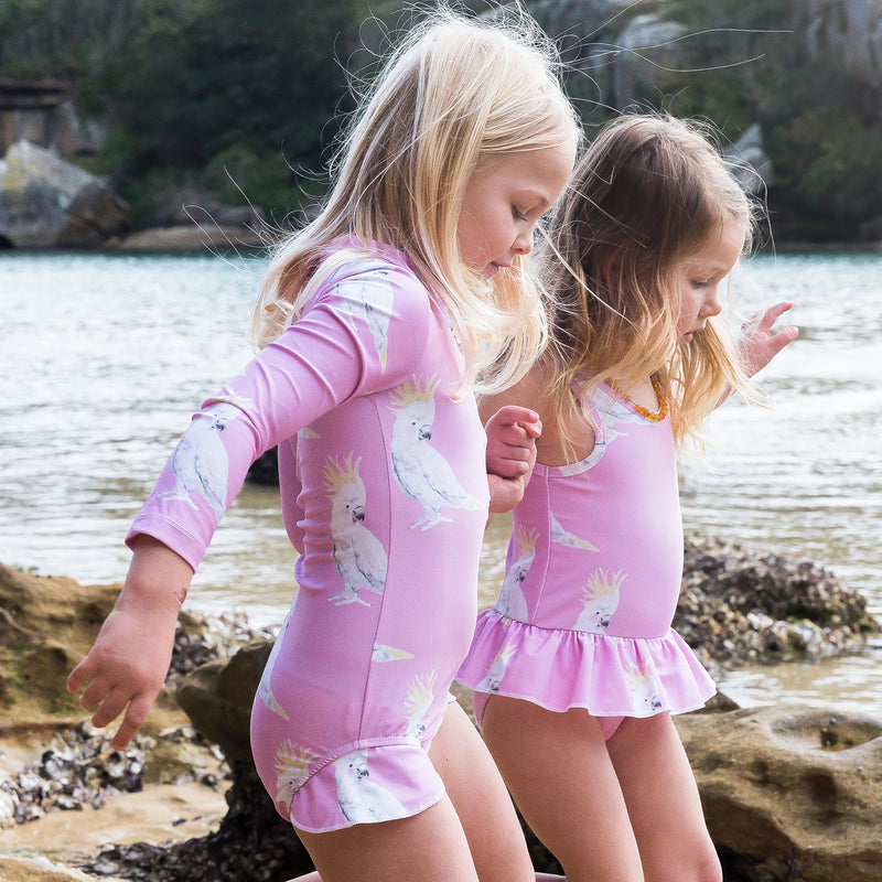 fa715eb737 Pink Cockatoo Long Sleeve Girls Zip Swimmers – Cheeky Chickadee Store