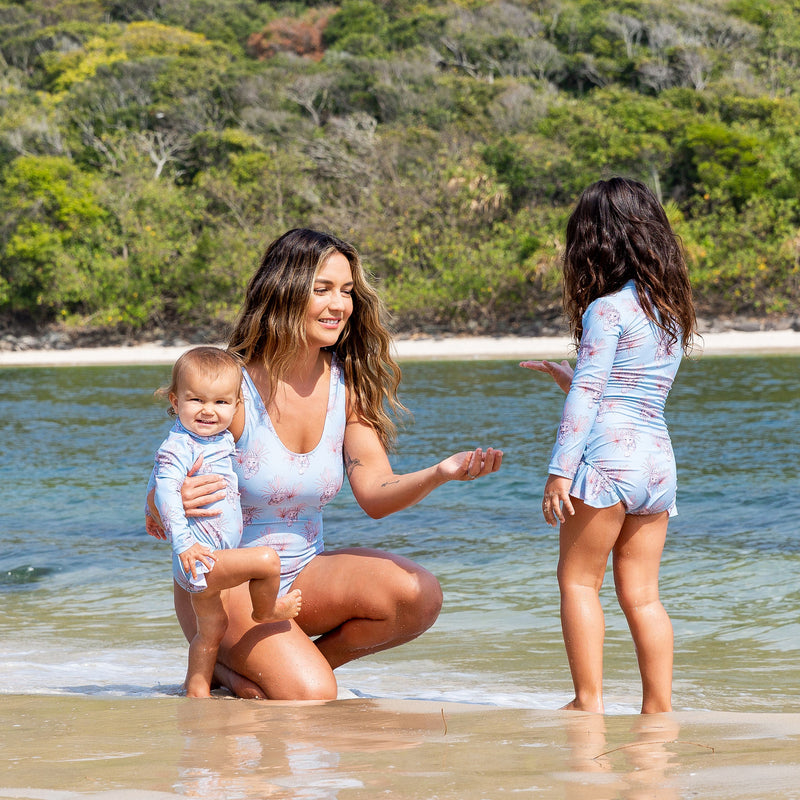 Revie Jane x Cheeky Chickadee Girls Long Sleeve Zip Swimmers