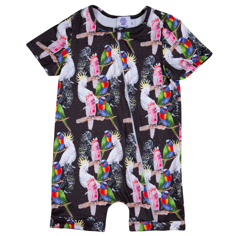 Night Sky Australian Birds Short Sleeve Sleepsuit