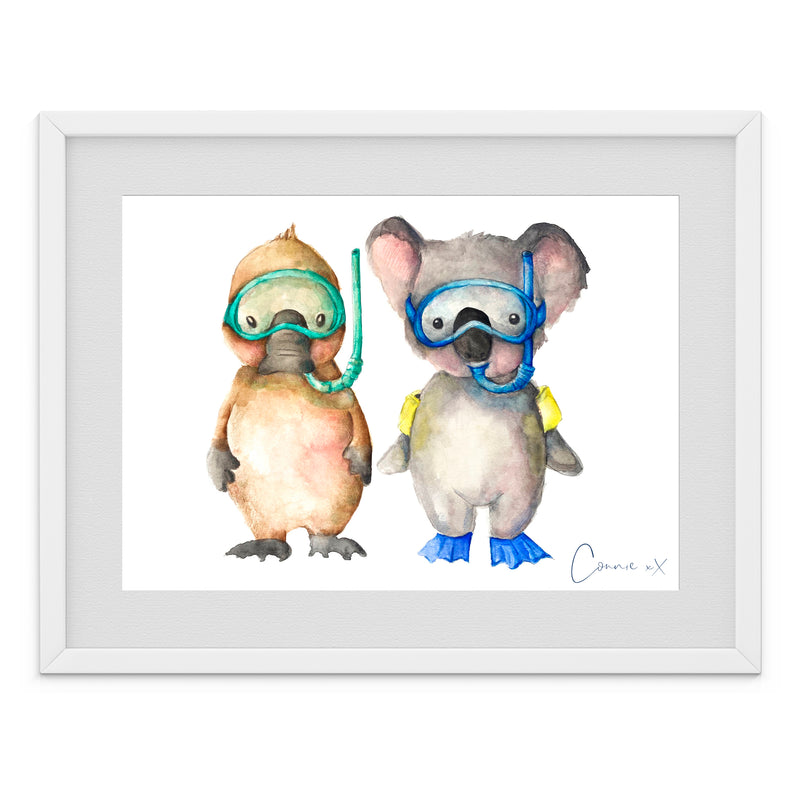 Swimming Pals Watercolour Print