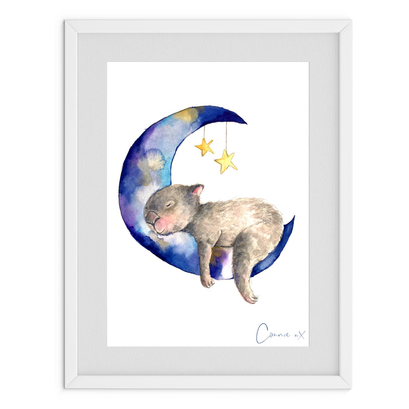 Wombat and the Stars Watercolour Print