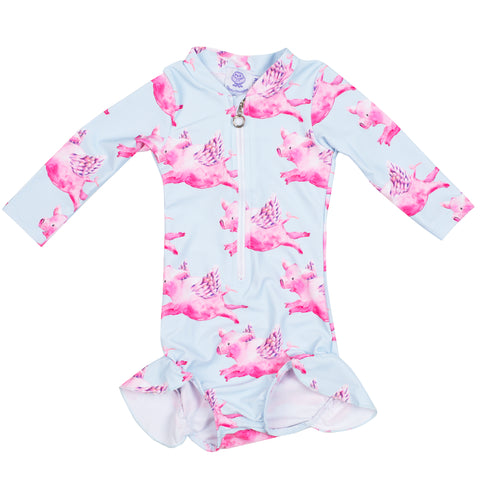 Pink Dinosaur Girls Zip Swimmers